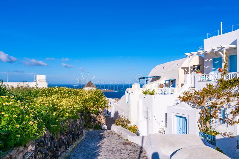 Traditional whitewashed houses in Oia, Santorini stock photos
