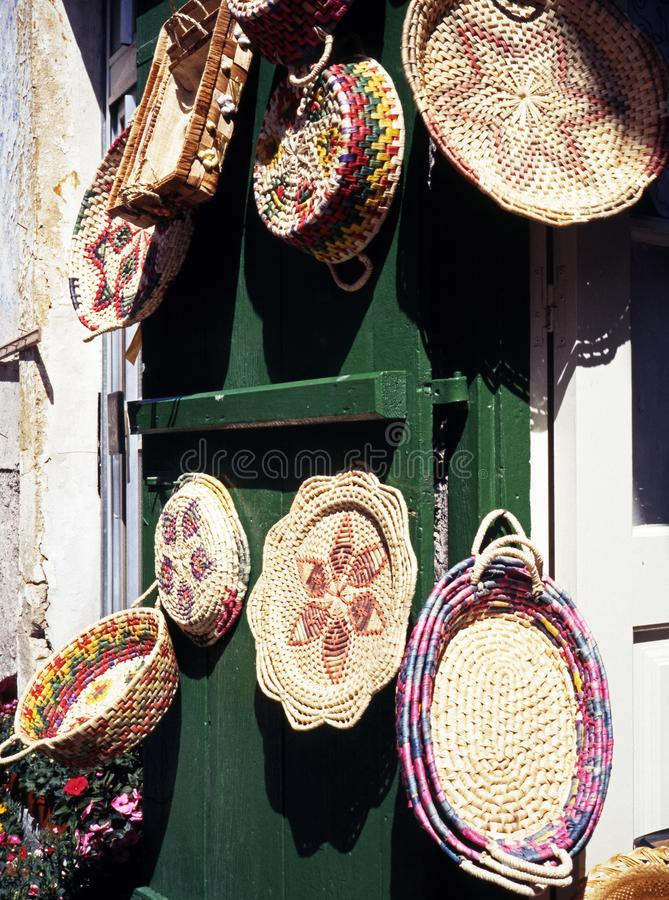 Traditional wickerwork, Cyprus. Traditional cypriot wicker baskets and trays, Pano Lefkara, Cyprus royalty free stock image