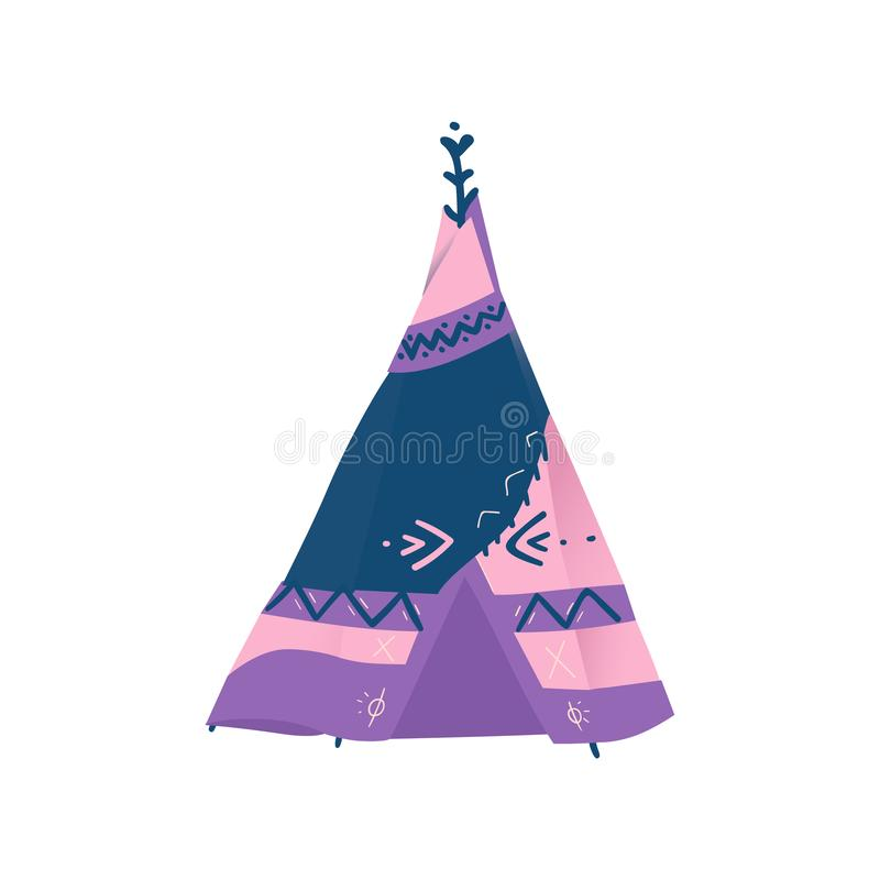 Traditional wigwam, teepee or tipi of american indian. vector illustration