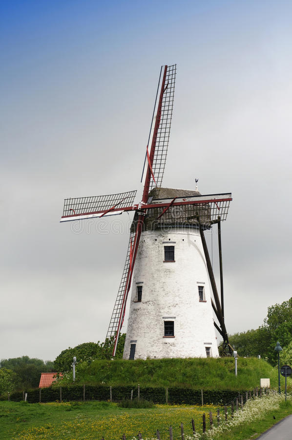 Traditional windmill, Damme, Belgium royalty free stock image