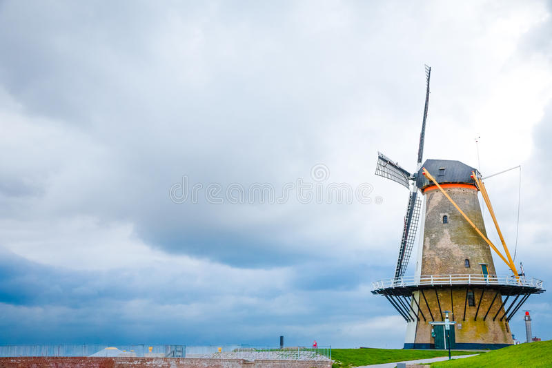 Traditional windmill on the in the Netherlands royalty free stock photography
