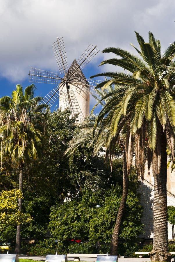 Traditional windmill in Palma de Majorca, Spain stock photo