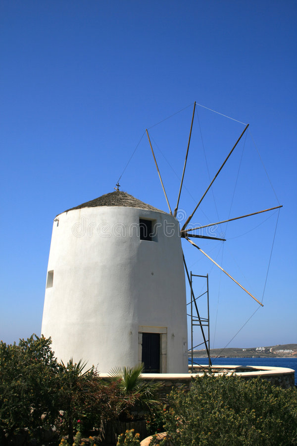 Traditional windmill - Paros island, Greece stock photography