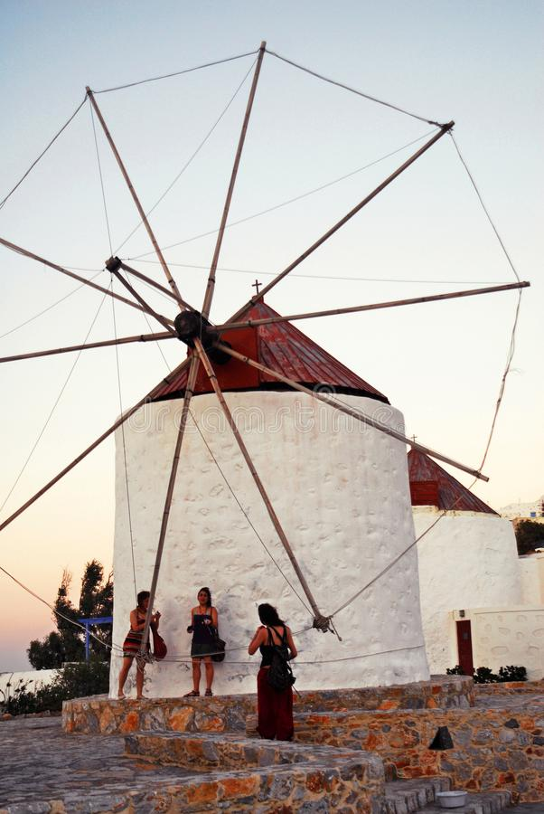 Astypalaia island, Dodecanese islands, Greece. Traditional windmill of the town of Astypalaia, Astypalaia island, Dodecanese islands, Greece stock photo