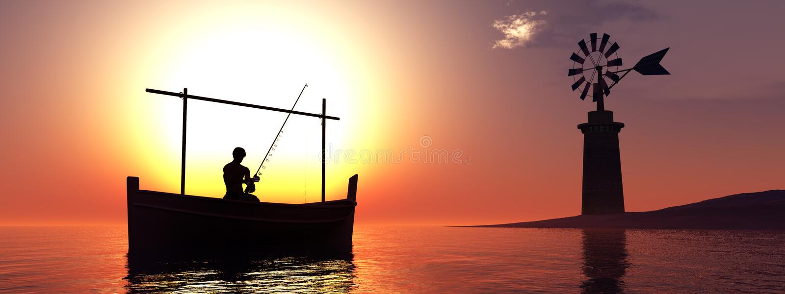 Traditional windmill and traditional boat. In the Balearic Islands, Spain vector illustration