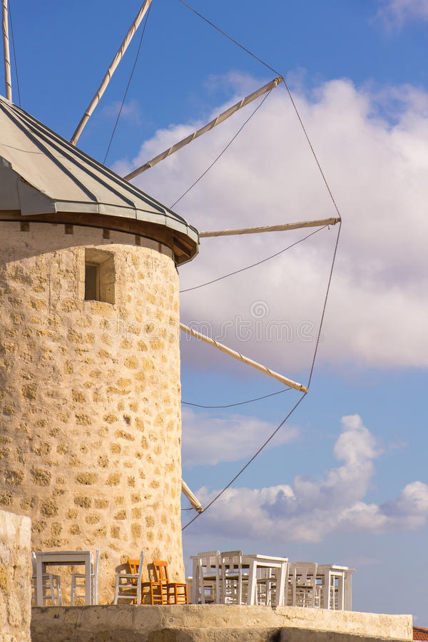 Traditional windmills in Alacati, Izmir province, Turkey. Traditional windmills in Alacati, Izmir province royalty free stock images