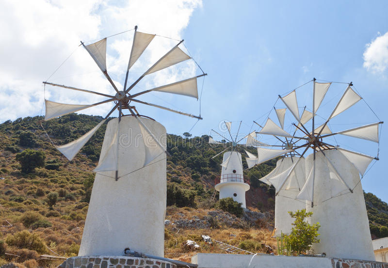 Download Traditional Windmills At Crete, Greece Stock Photo - Image of field, fauna: 27839892