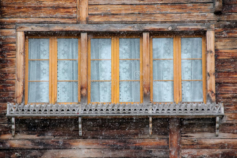 Traditional window from Austria at winter
