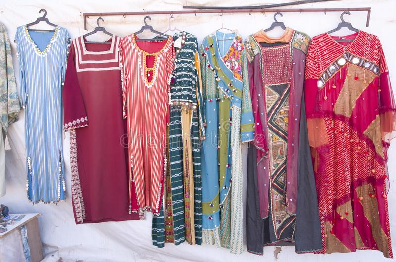 Traditional woman bedouin dresses in Jordan stock photo