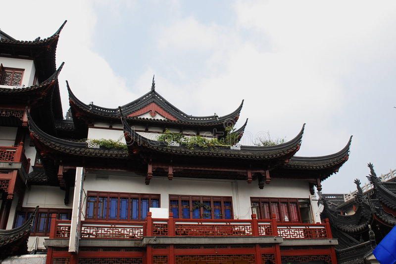 Traditional wood architecture of China stock photography