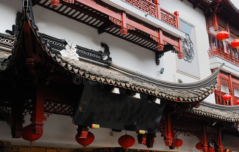 Traditional wood architecture of China stock photos