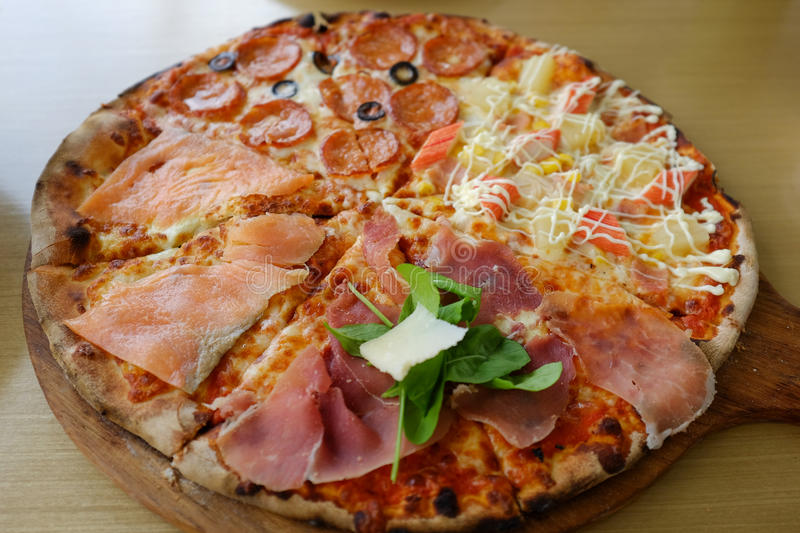 Traditional wood burning Italian pizza royalty free stock images