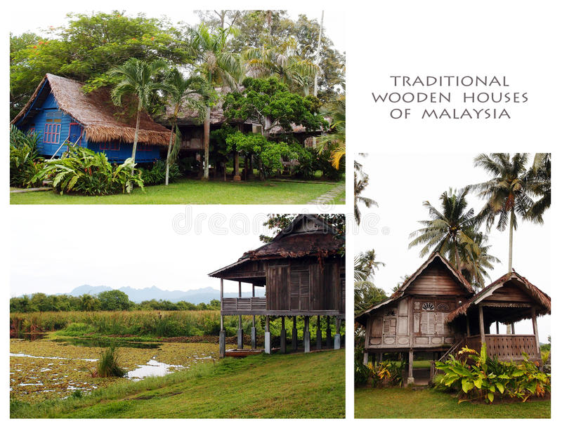Traditional Wood Houses Of Malaysia Collage Stock Photo