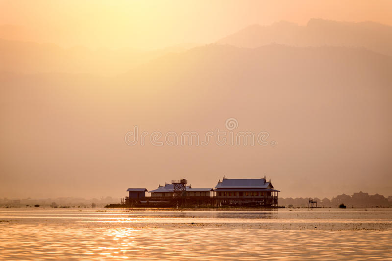 Traditional Wood Houses on Stilts at Inle Lake in Myanmar royalty free stock photography