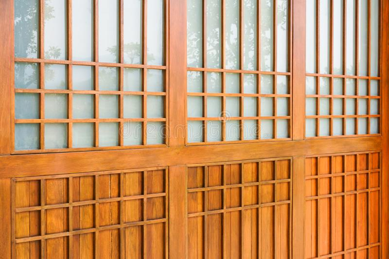 Traditional wood of japan style,texture of Japanese wood Shoji stock photos