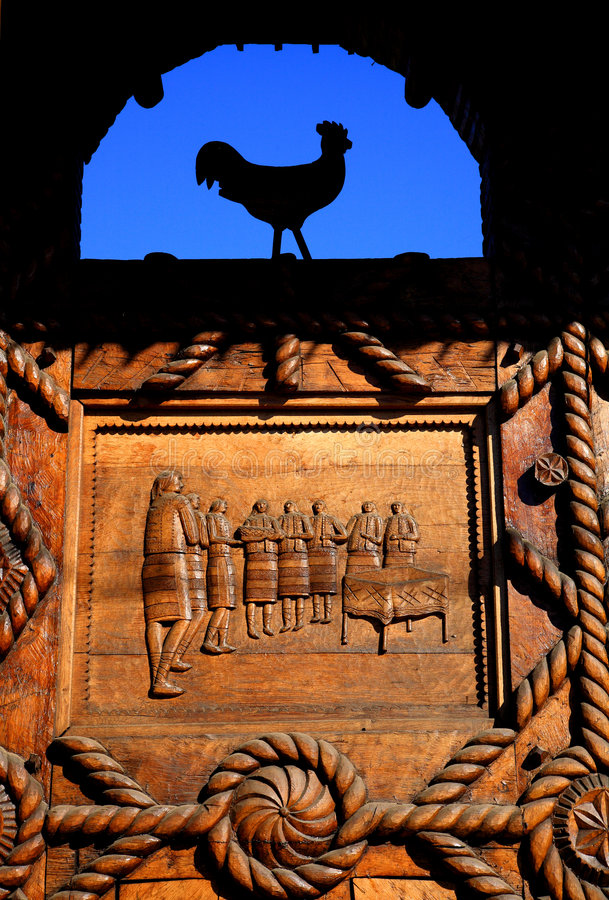 Traditional wooden basrelief royalty free stock photos