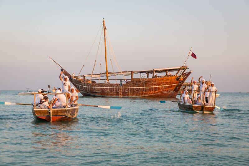 Katara beach Qatar traditional wooden boats dhow royalty free stock image