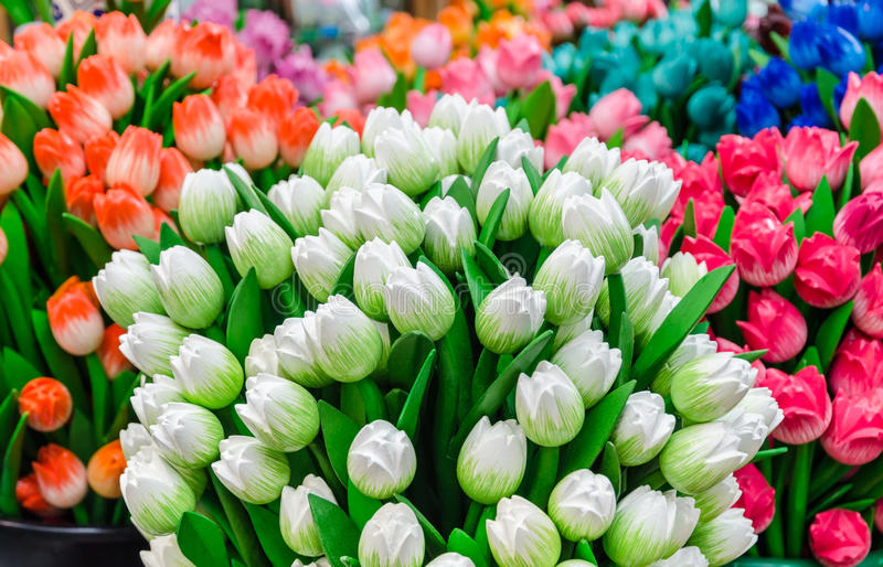 Traditional wooden colorful tulips at souvenir shop in Amsterdam stock photography