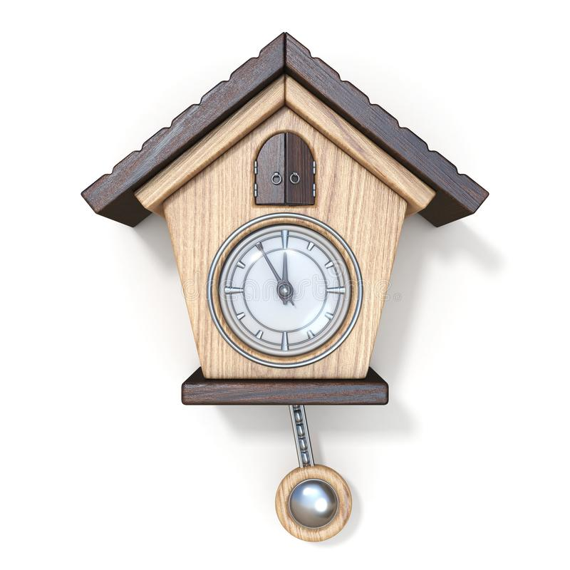 Traditional wooden cuckoo clock Front view 3D royalty free illustration