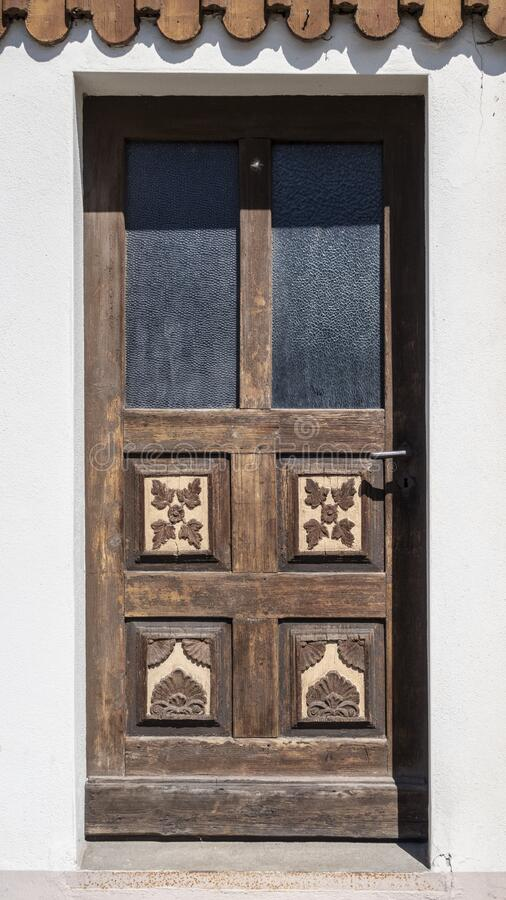 Traditional wooden door in Ore Mountains stock photos