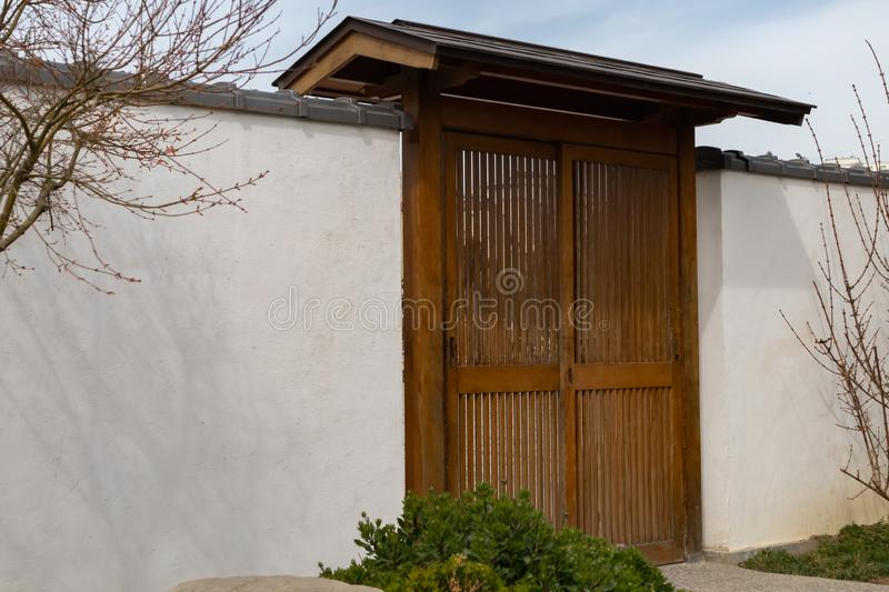 Traditional wooden door. small Wooden Gateway Background stock photography
