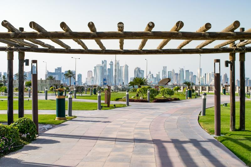 City Park and Doha Skyline stock images