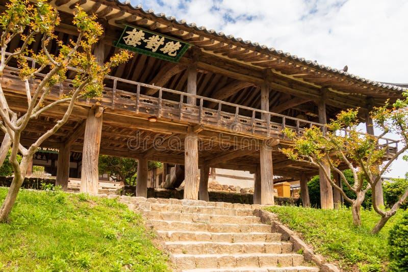 Traditional wooden facade of the korean Byeongsan Seowon Confucian Academy, UNESCO World Heritage. Andong, South Korea, Asia. Byeongsanseowon is a Confucian royalty free stock photo