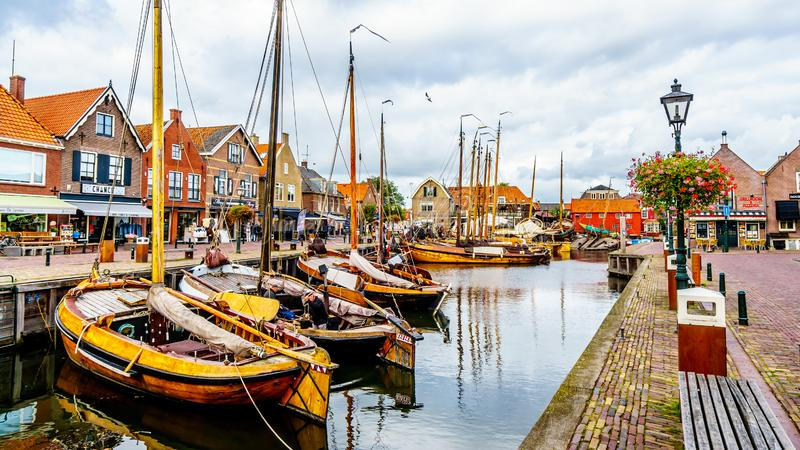 Fishing Boats moored in the harbor of Bunschoten-Spakenburg in stock photography