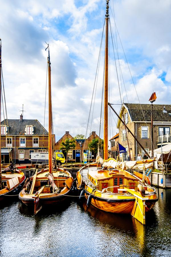 Fishing Boats moored in the harbor of Bunschoten-Spakenburg in stock photo