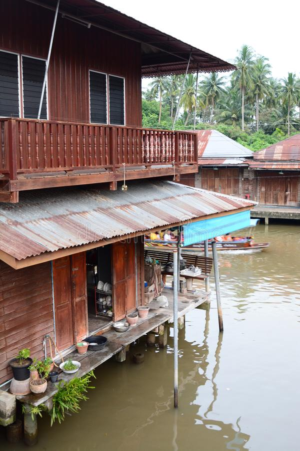 A traditional wooden house in Amphawa. Samut Songkhram province. Thailand. Amphawa Floating Market is in the Amphawa District of Samut Songkhram Province, not royalty free stock photography