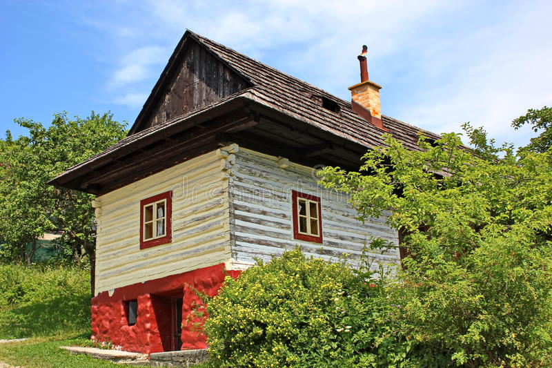 Traditional wooden house in village Vlkolinec,Slovakia stock photography