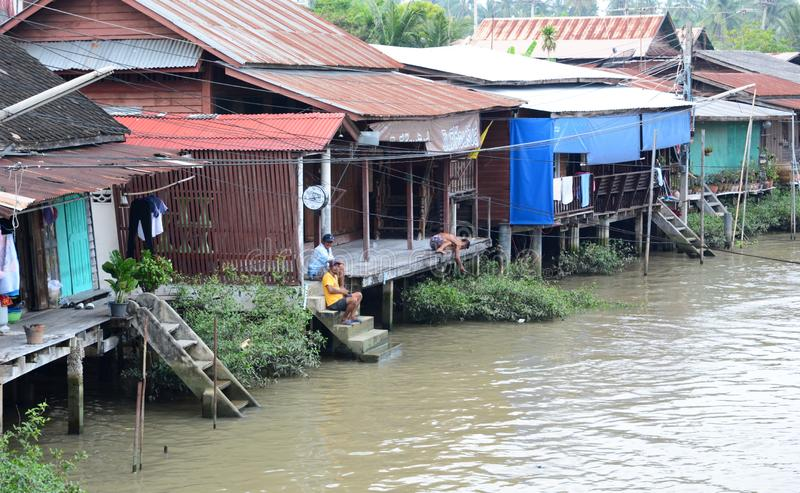 Traditional wooden houses in Amphawa. Samut Songkhram province. Thailand. Amphawa Floating Market is in the Amphawa District of Samut Songkhram Province, not far royalty free stock image
