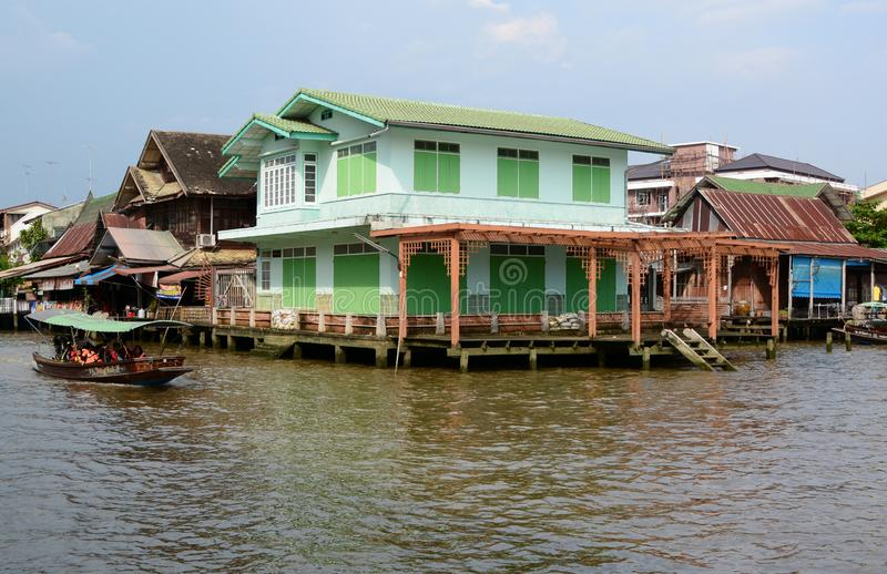 Traditional wooden houses. Amphawa. Samut Songkhram province. Thailand. Amphawa Floating Market is in the Amphawa District of Samut Songkhram Province, not far stock photography