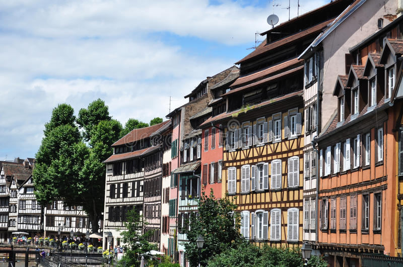Traditional half timbered houses in Strasbourg, France stock image