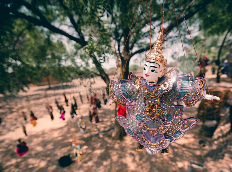 Traditional Wooden Puppets at Old Bagan in Myanmar stock image