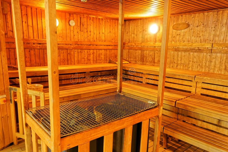 A Traditional Wooden Sauna Room stock photos
