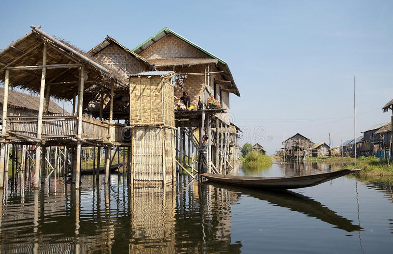 Traditional wooden stilt houses on the Lake Inle Myanmar royalty free stock photos
