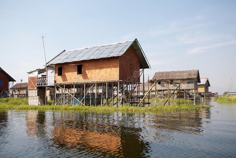 Traditional wooden stilt houses on the Lake Inle Myanmar. Traditional wooden stilt houses on the Lake Inle, Shan State, Myanmar stock images