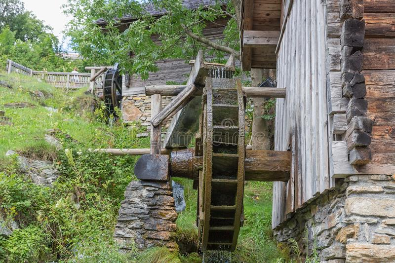 Traditional wooden waterwheel near Werfen in Pongau valley, Austria. stock images