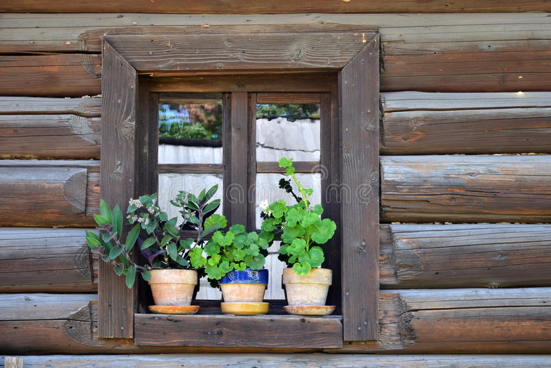 Traditional wooden window in Romania village stock images