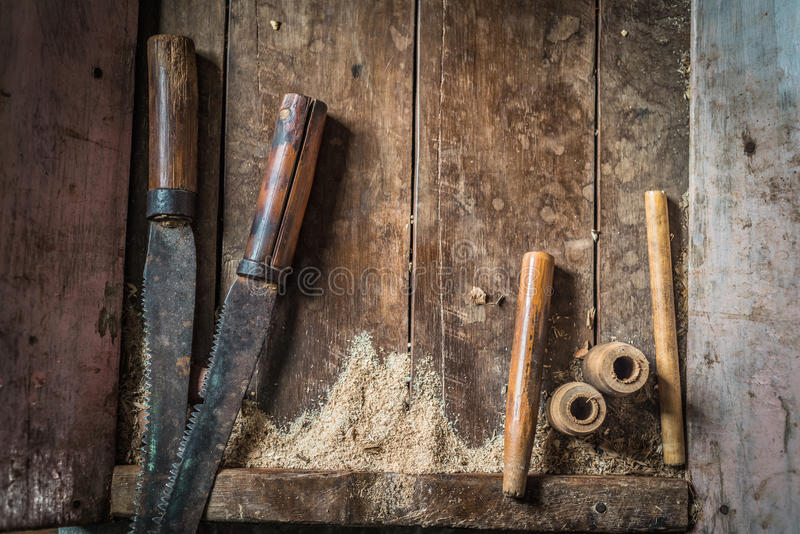 Traditional woodworker tools royalty free stock photo