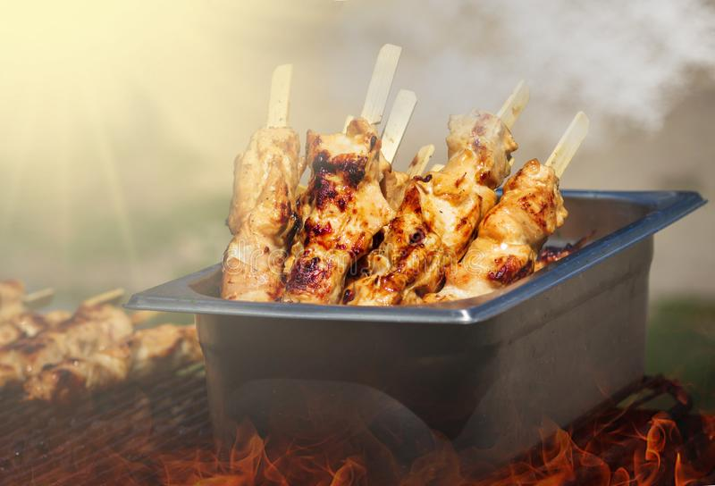 Traditional yakitori chicken stand in Japan at street food vendor market, grilled satay. Japanese Food stock image