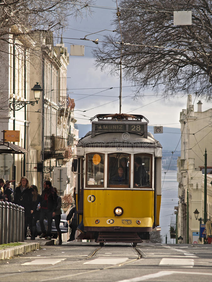 Traditional yellow trams in Lisbon