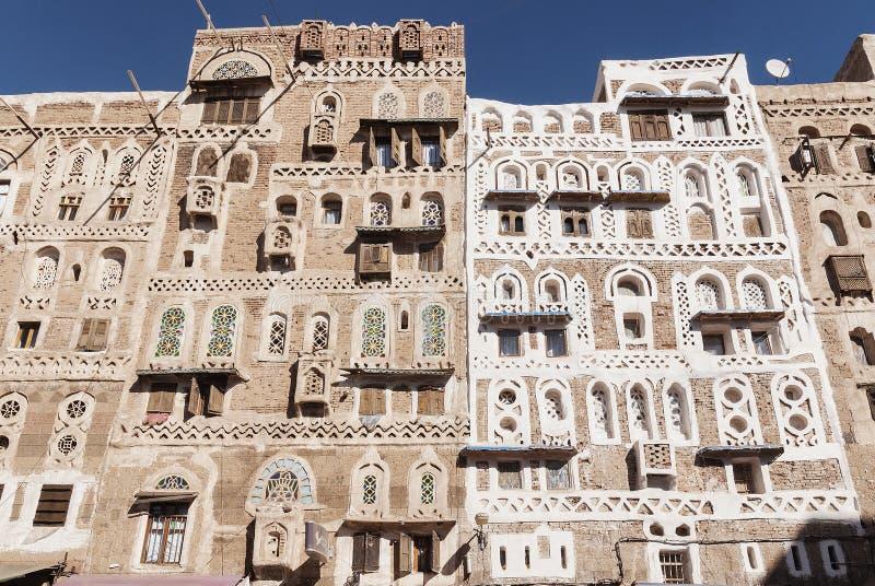 Traditional yemeni buildings in sanaa old town yemen royalty free stock photo