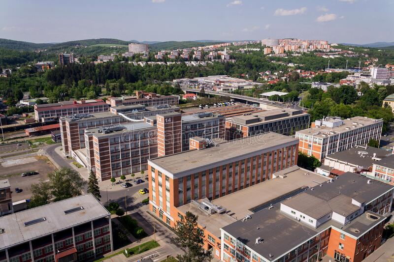 Traditional Zlin red brick buildings exterior, former shoe factory, Moravia, Czech Republic, sunny summer day. Aerial view royalty free stock photo