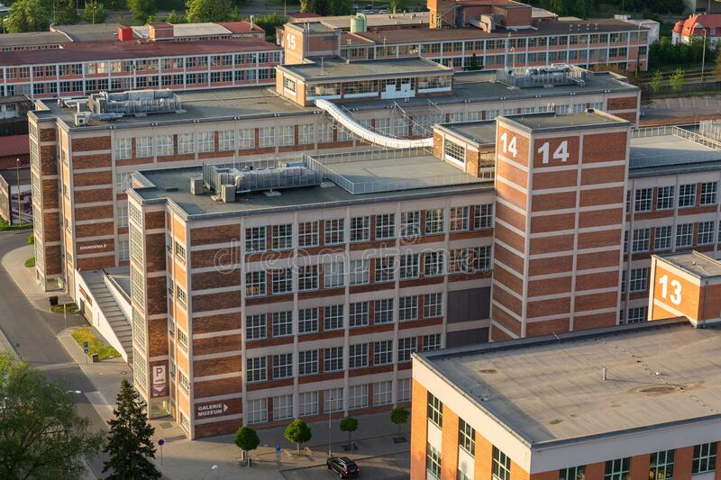 Traditional Zlin red brick buildings exterior, former shoe factory, Moravia, Czech Republic, sunny summer day. Aerial view royalty free stock photos