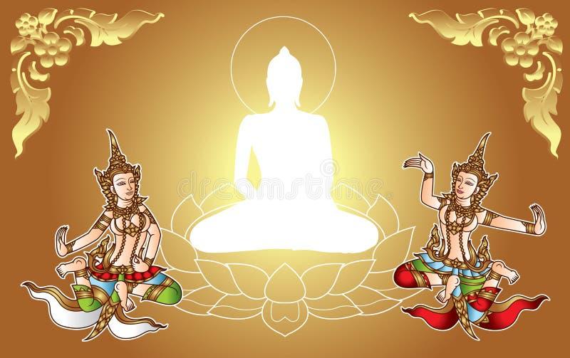 traditionalgold Engel Buddha und zwei mit thailändischem Blumenrahmen vektor abbildung