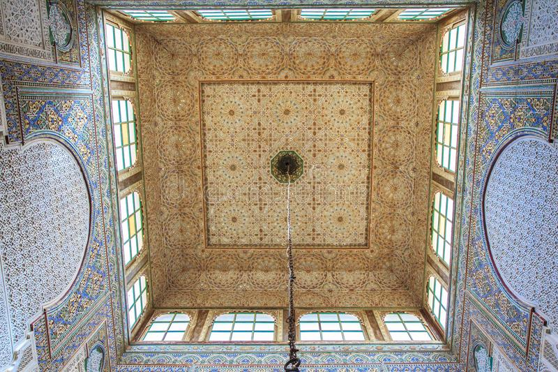Traditionally decorated ceiling in Morocco royalty free stock photo
