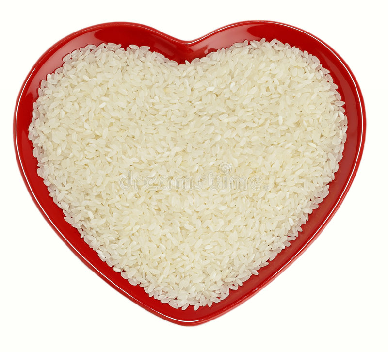 Traditionally Japanese Sushi Rice in red heart royalty free stock image