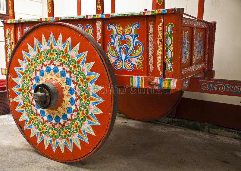 Traditionally Painted Ox Cart stock images